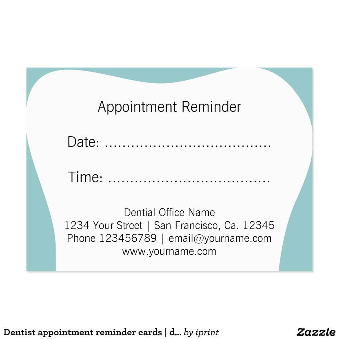 Dentist Appointment Reminder Cards | Dental Office | Zazzle Intended For Dentist Appointment Card Template