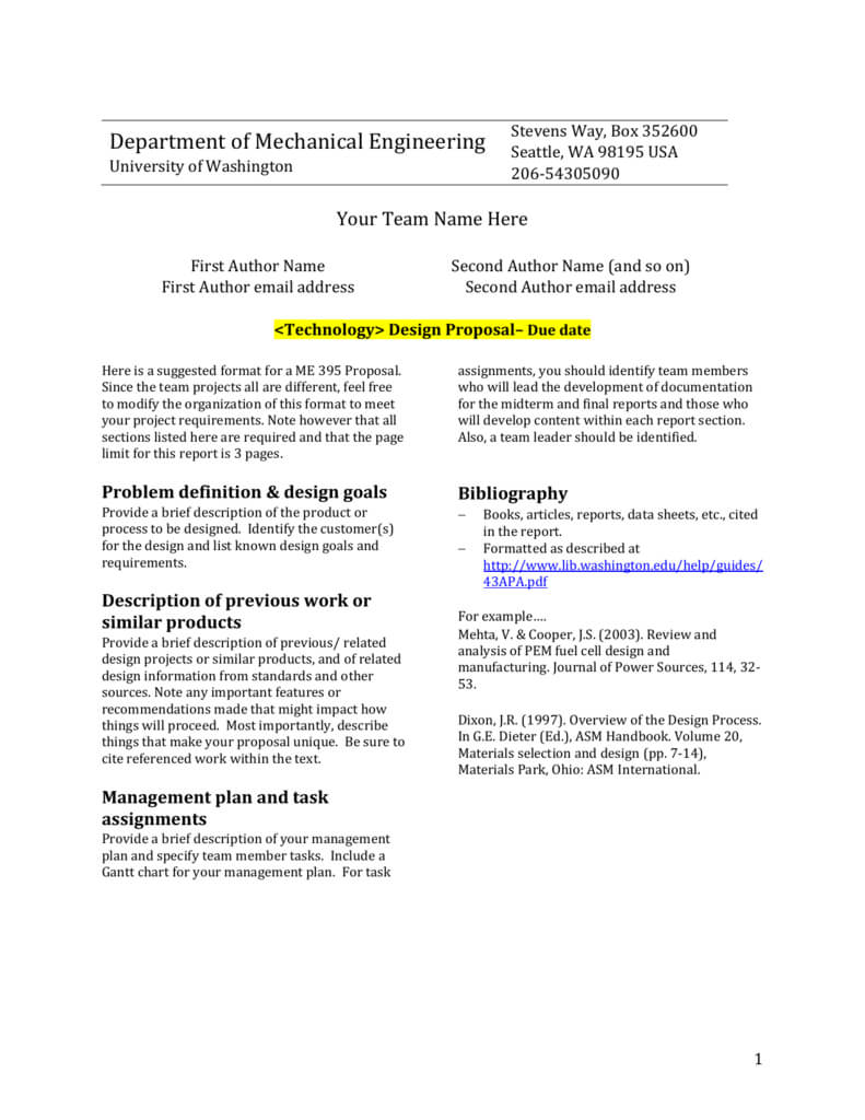 Design Report Template – University Of Washington In Project Management Final Report Template