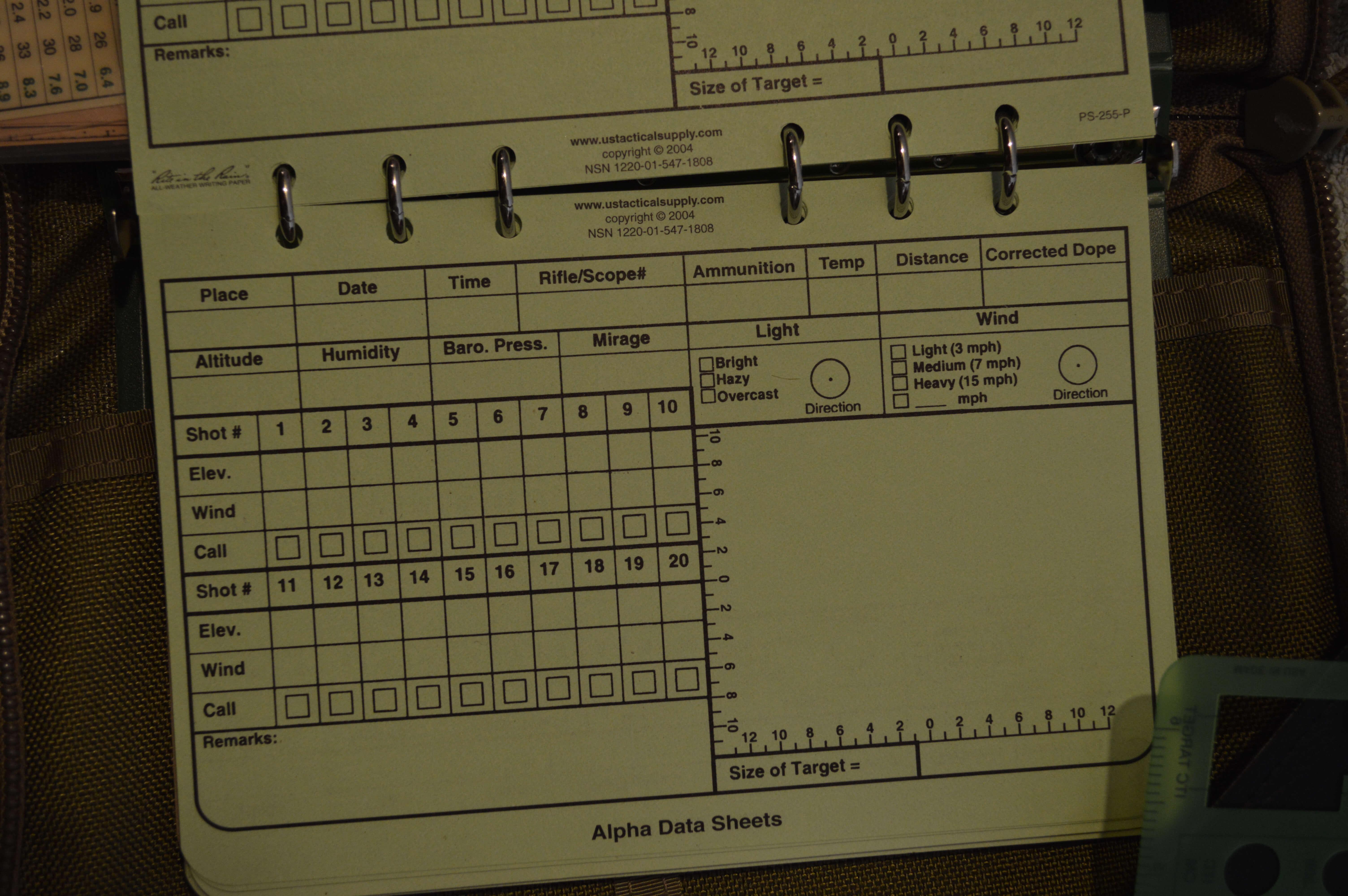 Designated Marksman Data Log Book | Gunner's Mate & Edm's with Dope Card Template