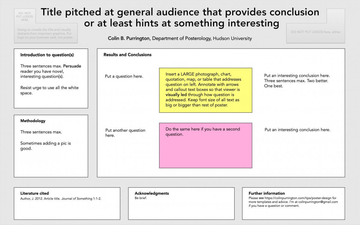 Designing Conference Posters » Colin Purrington regarding Chance Card Template