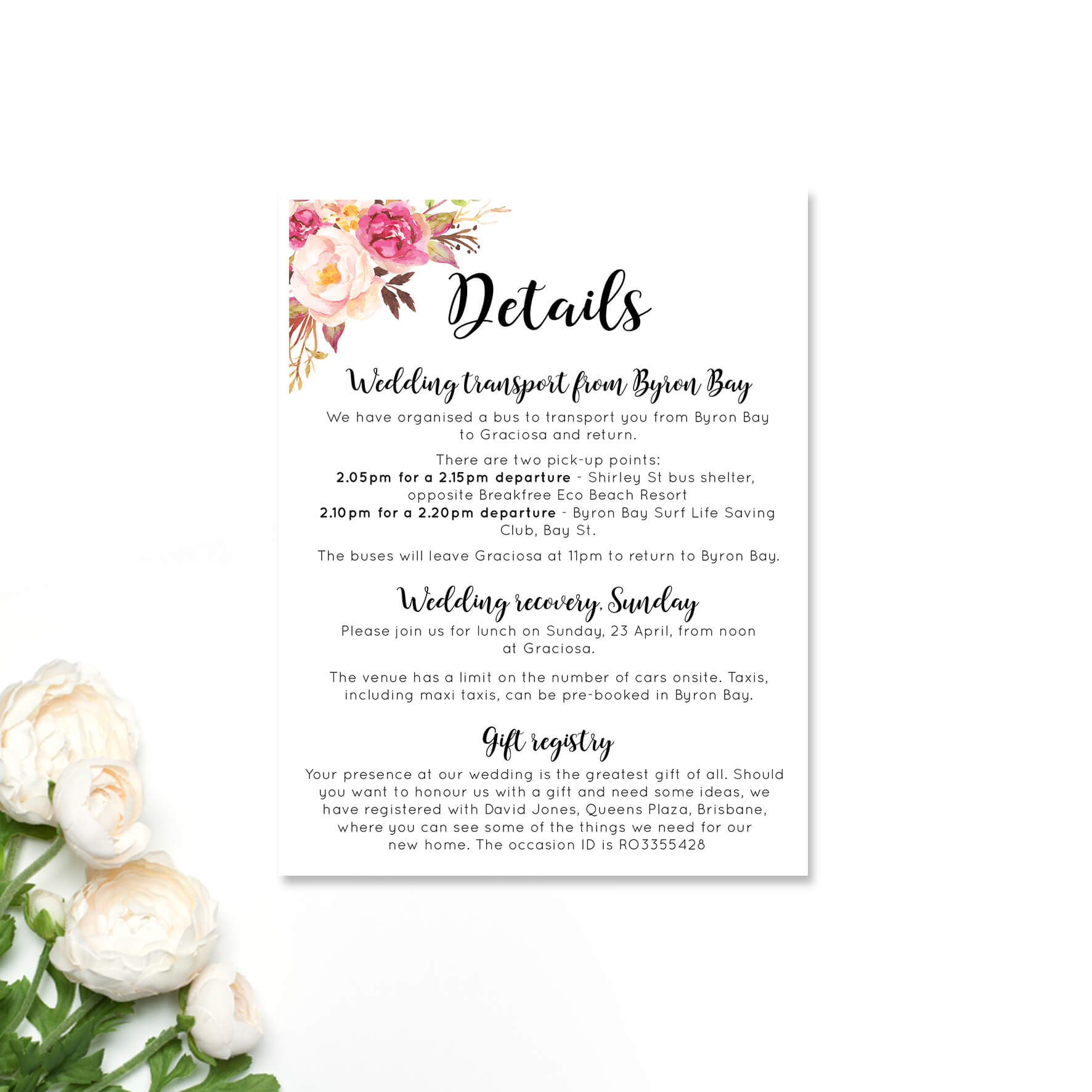 Detail Cards For Wedding Invitations Hotel Accommodation in Wedding Hotel Information Card Template
