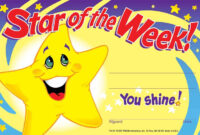 Details About 30 Childrens Star Of The Week 'you Shine' Reward Recognition  Certificate Awards With Star Of The Week Certificate Template