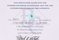 Diamond Certificate Of Authenticity Template Online Sports regarding Certificate Of Authenticity Photography Template