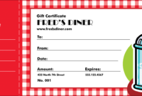 Diner Gift Certificate pertaining to Restaurant Gift Certificate Template