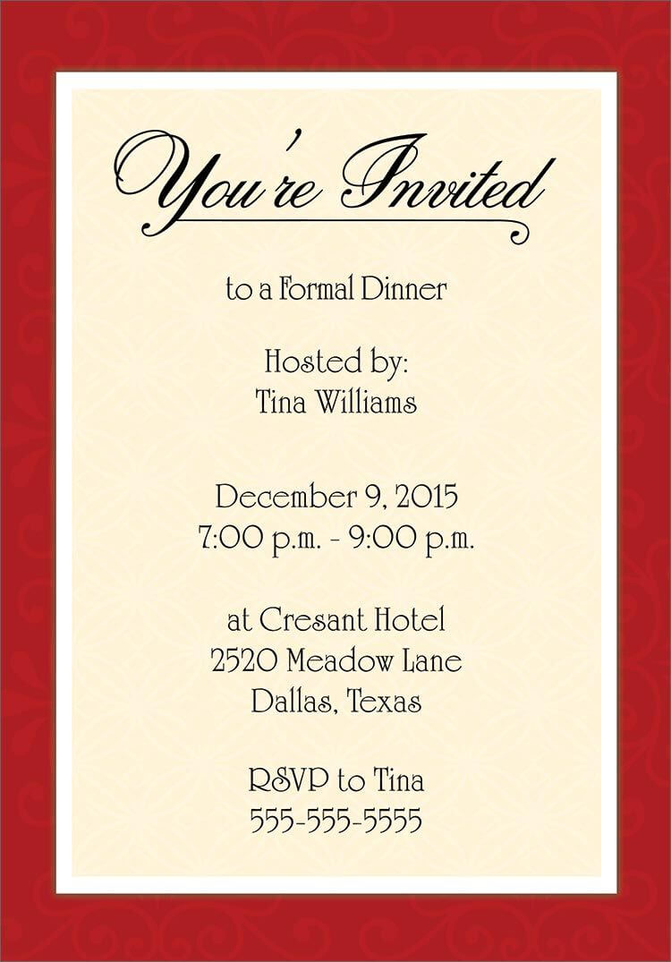 Dinner Invitation Template Free | Birthday Dinner Invitation Inside Free Dinner Invitation Templates For Word