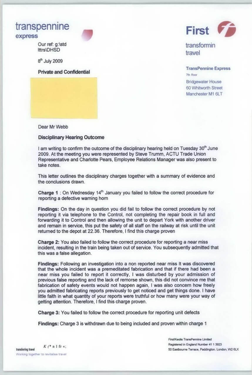 Disciplinary Hearing Outcome Letter - Transpennine Express throughout Investigation Report Template Disciplinary Hearing