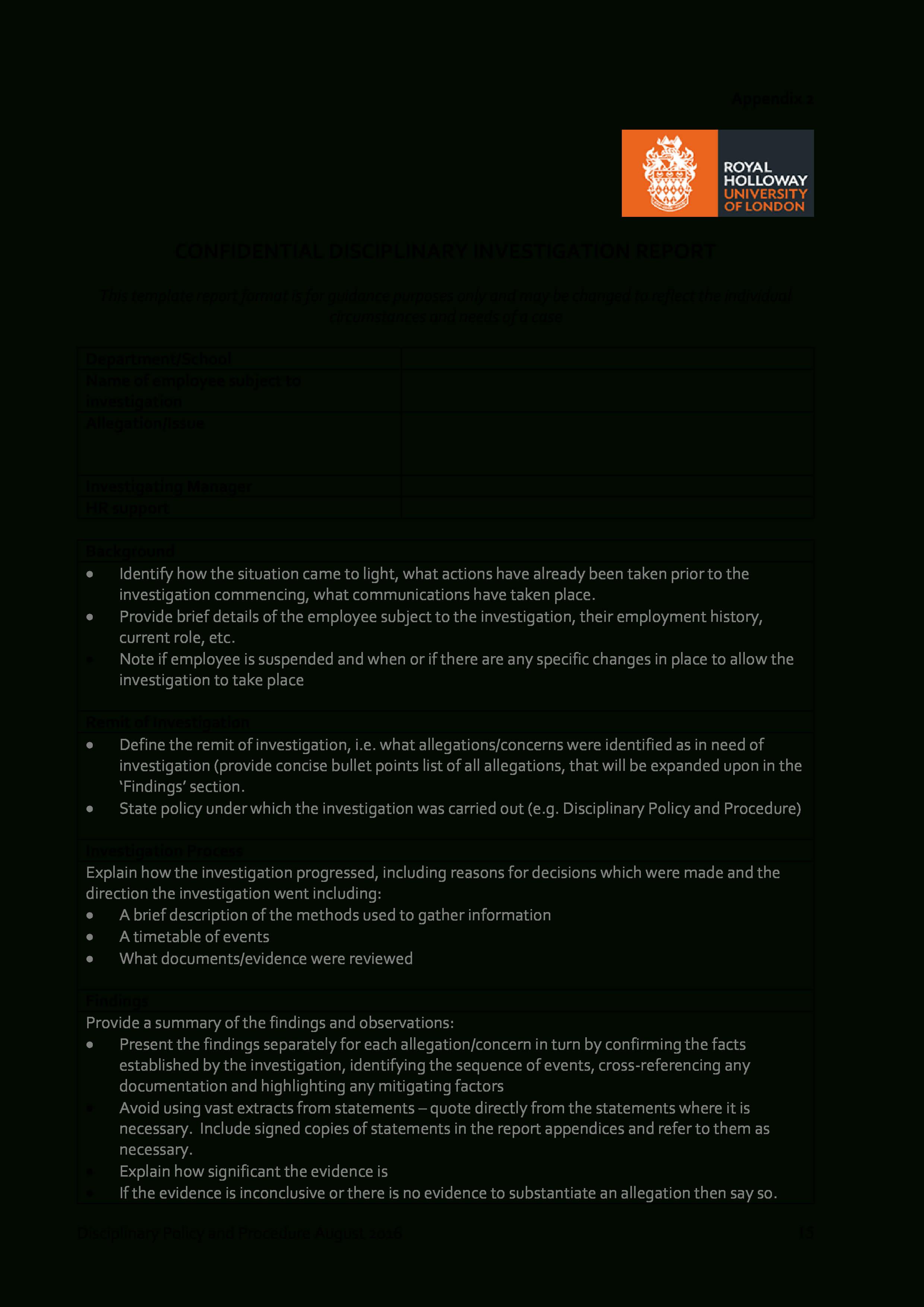 Disciplinary Investigation Report | Templates At for Hr Investigation Report Template