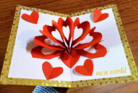 Diy 3D Heart ❤️ Pop Up Card | Valentine Pop Up Card in 3D Heart Pop Up Card Template Pdf