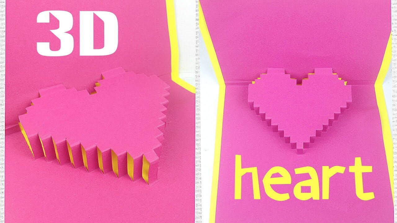 Diy 3D Heart Pop Up Card Tutorial Easy. Greeting Gift Card Love Design  Ideas For Boyfriend intended for Pixel Heart Pop Up Card Template