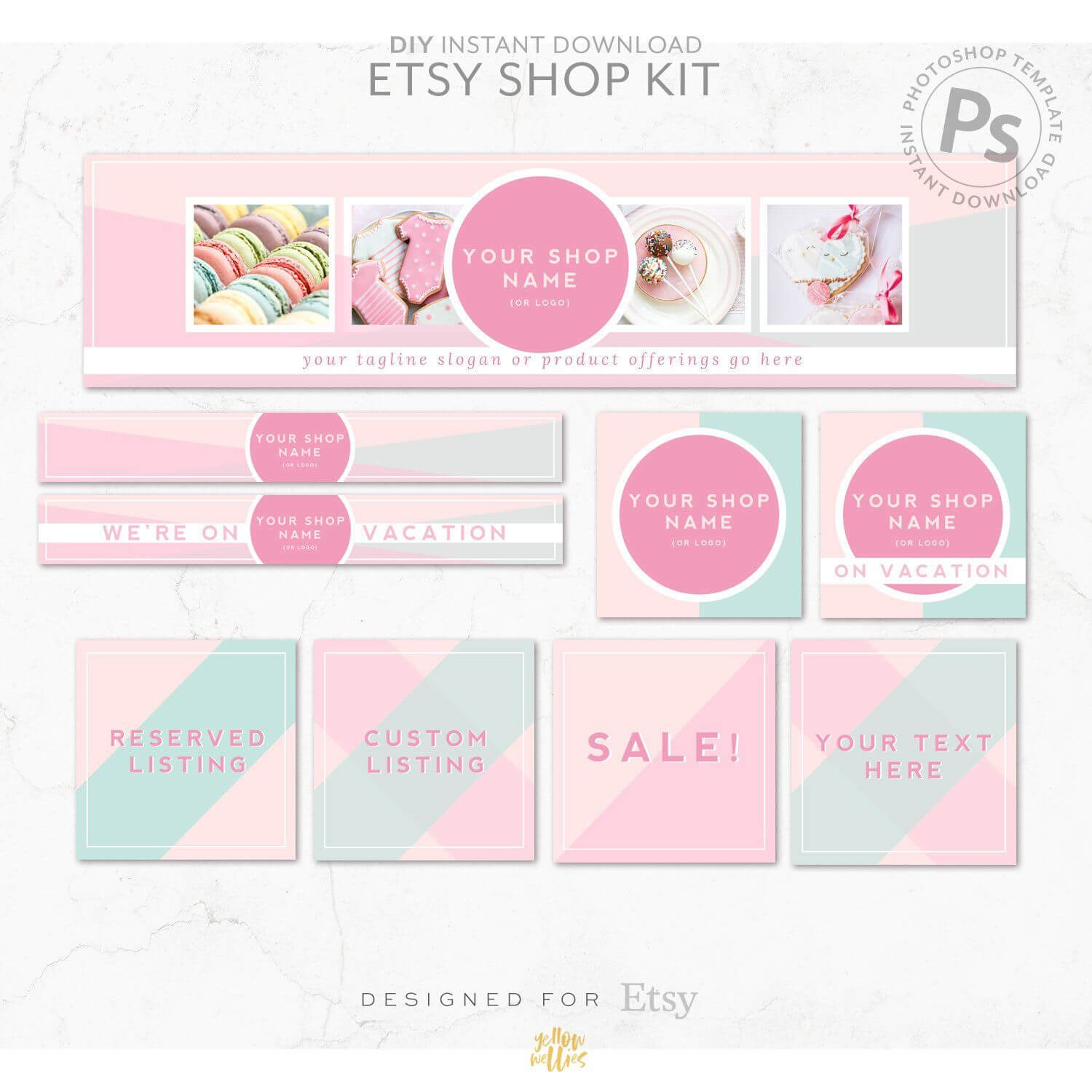 Diy Editable Etsy Shop Graphic Bundle Kit | Etsy Banner with Free Etsy Banner Template