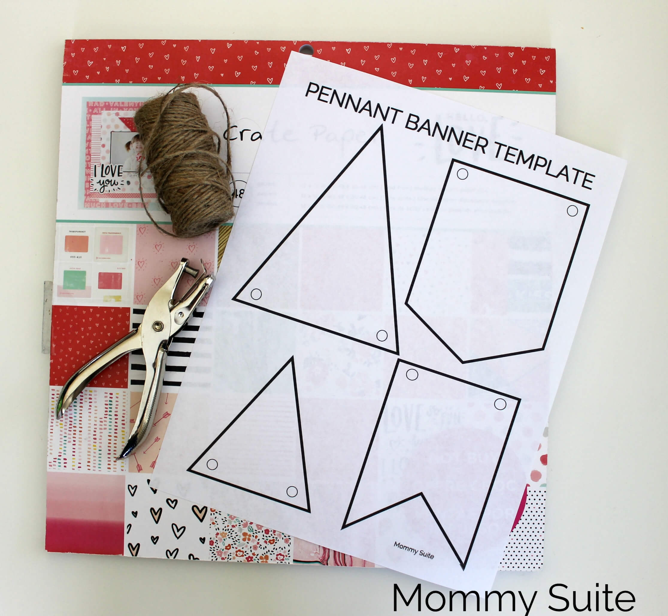 Diy Paper Pennant Banner (W/ Free Template) - Mommy Suite for Homemade Banner Template