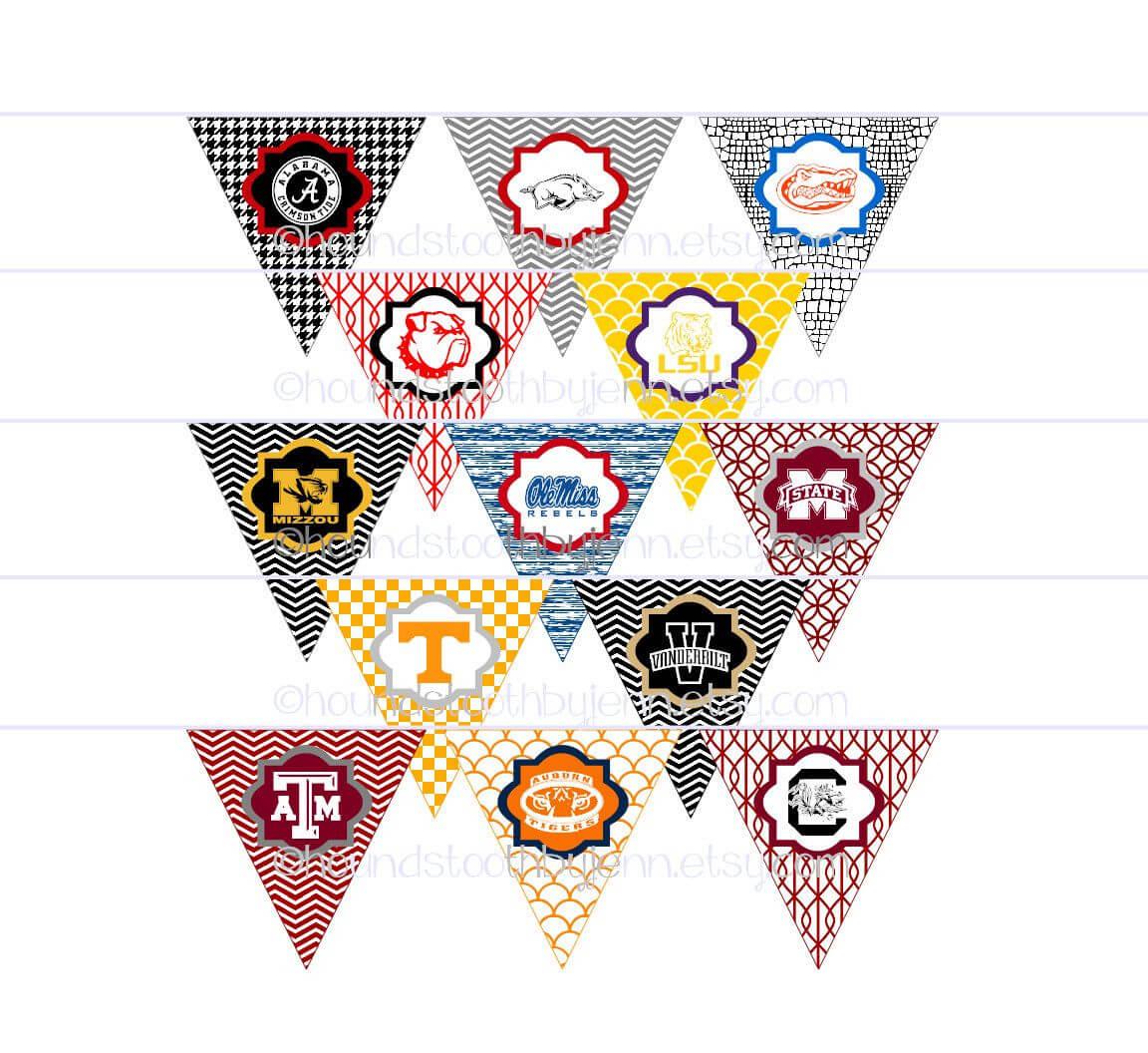 Diy Printables! Pennants Collegiate Tailgate Digital Regarding College Banner Template