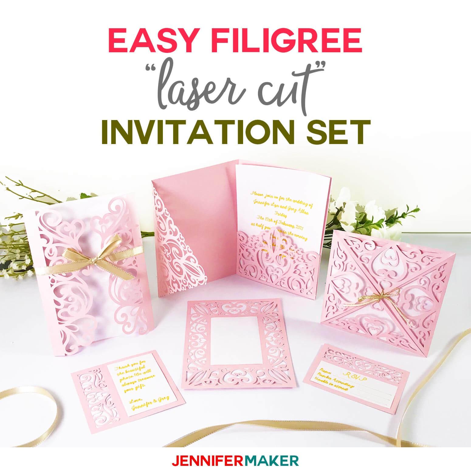"Diy Wedding Invitation Templates - Free ""laser Cut"" Set in Pop Up Wedding Card Template Free"