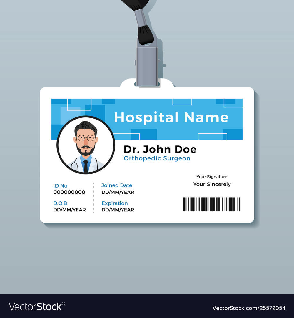 Doctor Id Badge Medical Identity Card Template Vector Image within Hospital Id Card Template