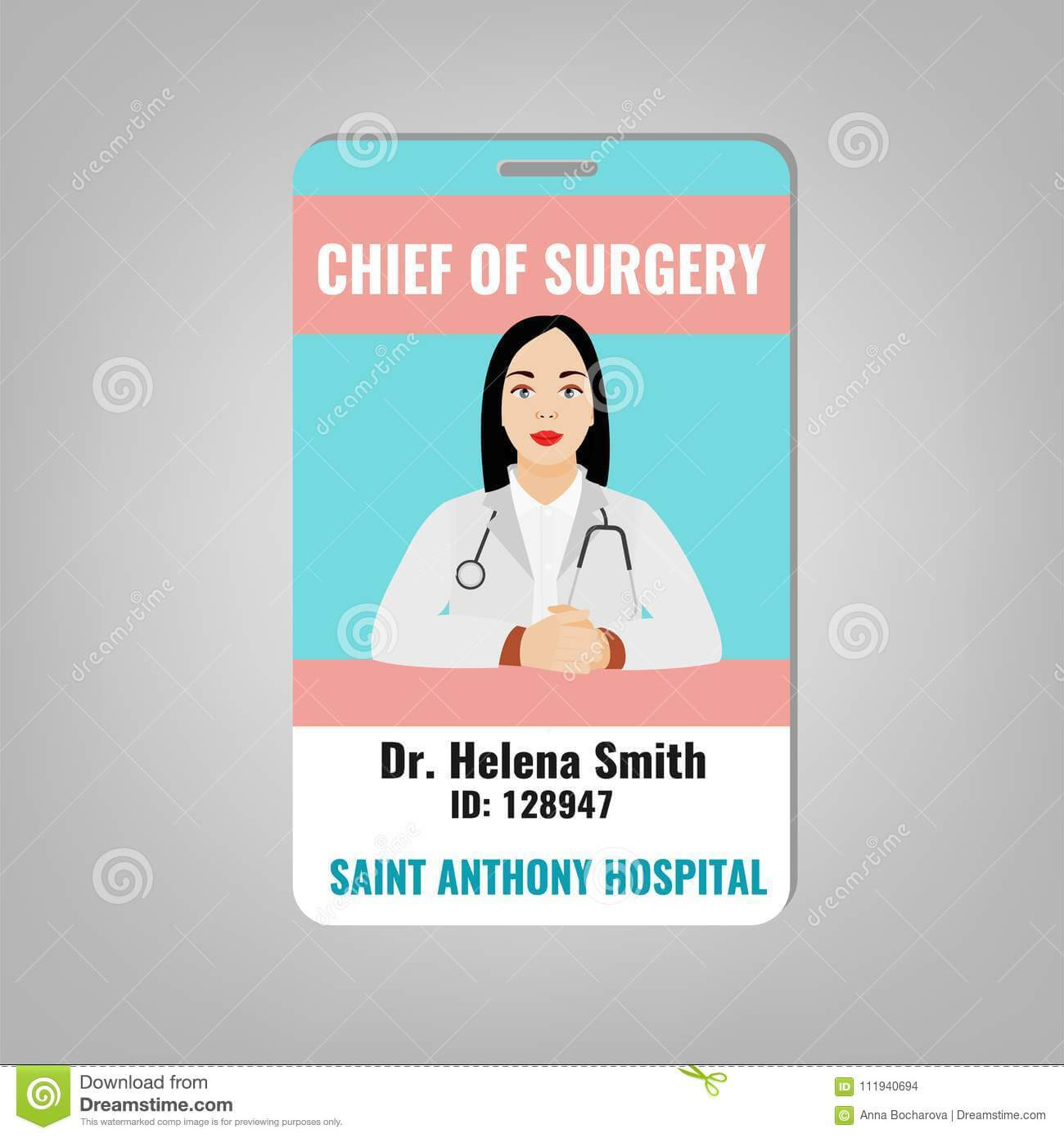 Doctor Id Card Stock Vector. Illustration Of Doctor - 111940694 within Doctor Id Card Template