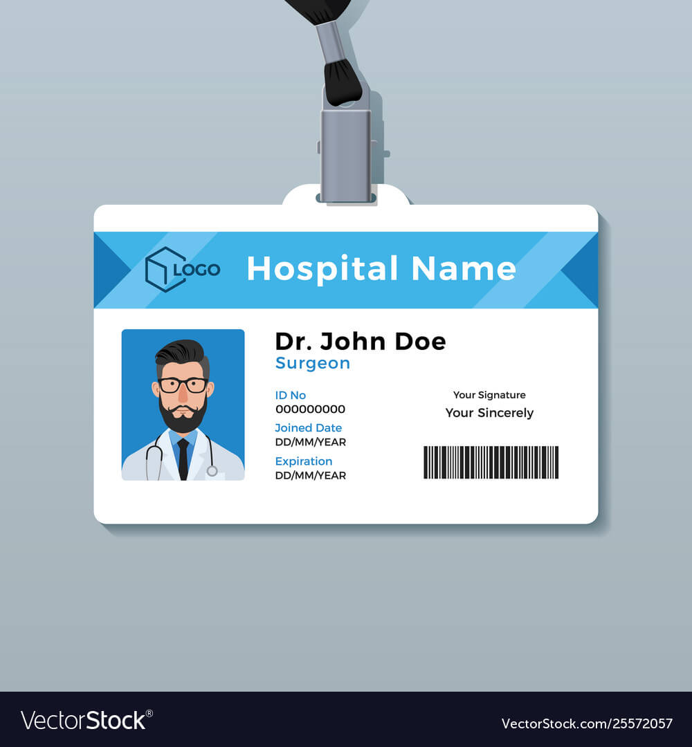 Doctor Id Card Template Medical Identity Badge within Hospital Id Card Template