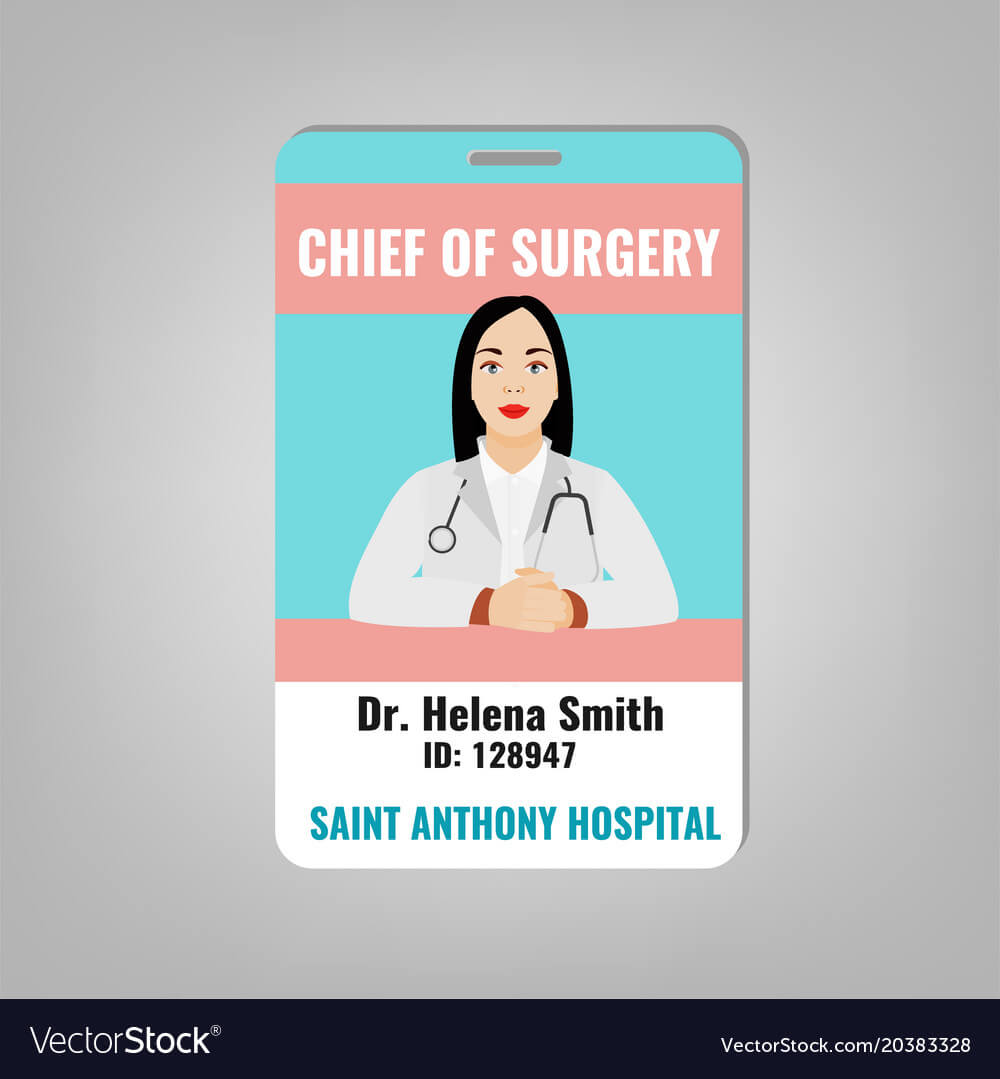 Doctor Id Card Vector Image throughout Hospital Id Card Template