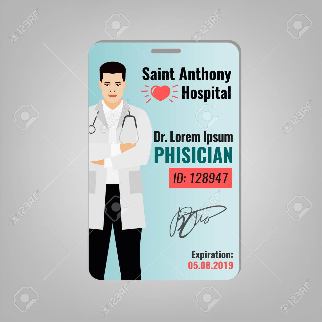 Doctors Id Card With Hospital Logo And Phisician Image. Medical.. within Hospital Id Card Template