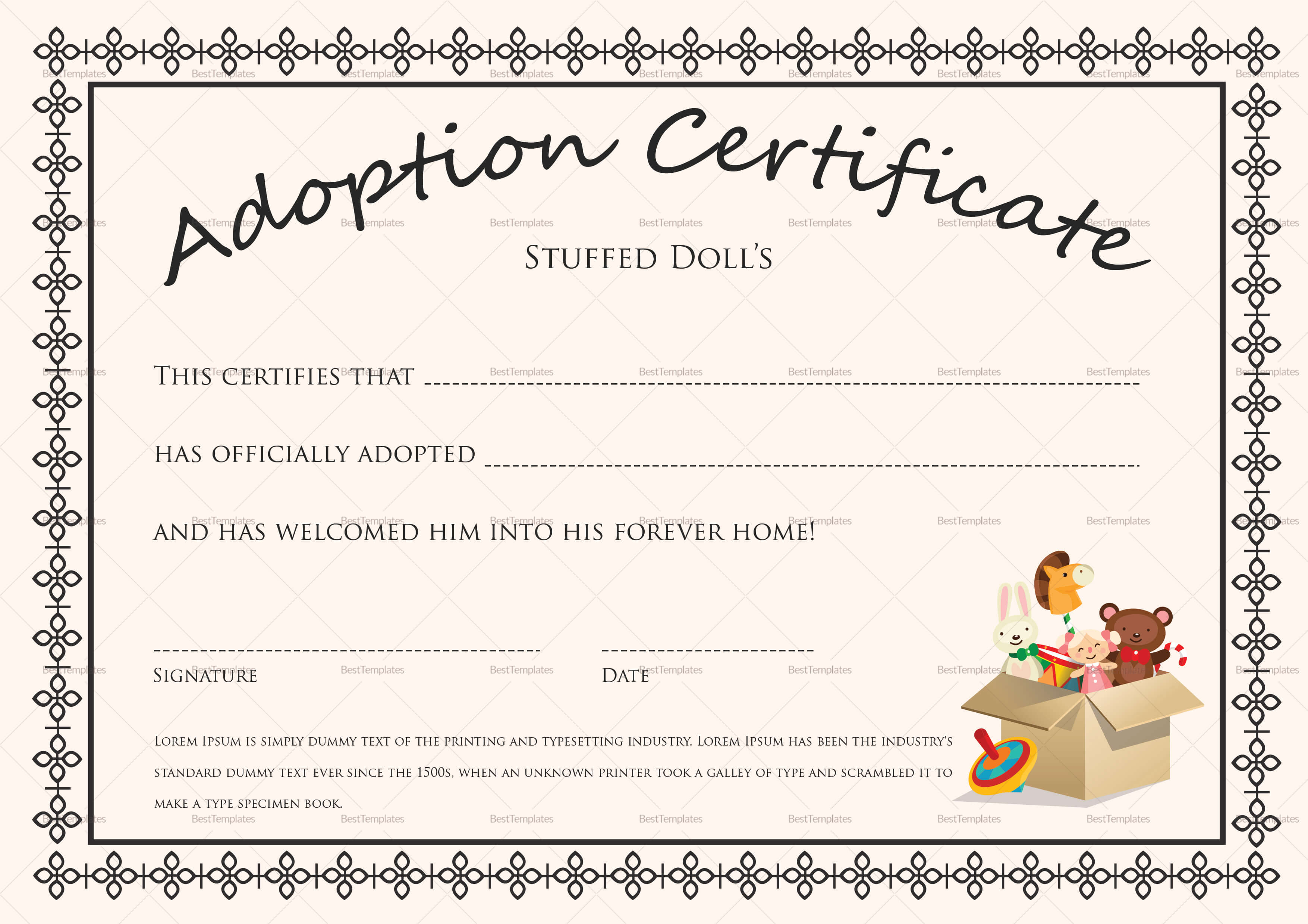 Doll Adoption Certificate Template Pertaining To Adoption Certificate Template