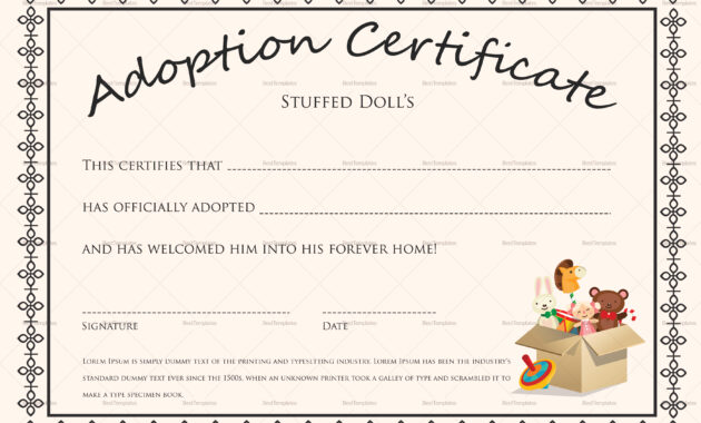 Doll Adoption Certificate Template throughout Blank Adoption Certificate Template
