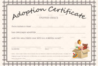 Doll Adoption Certificate Template with regard to Pet Adoption Certificate Template