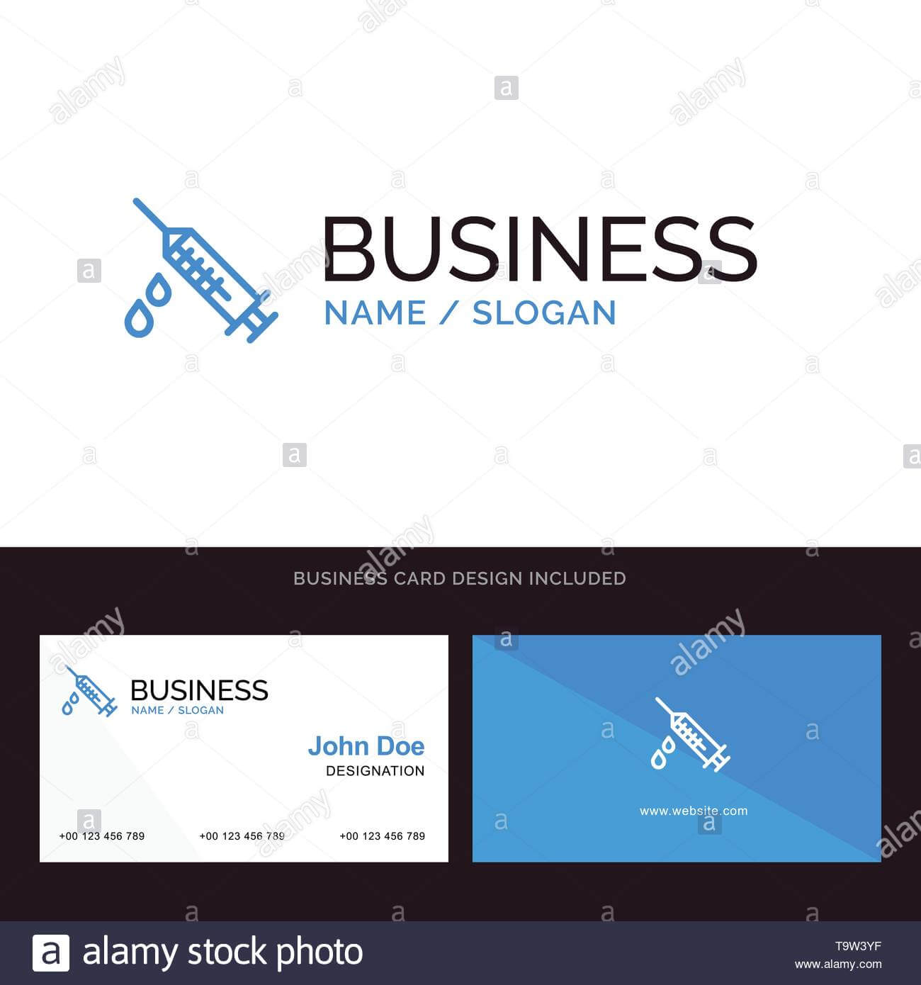 Dope, Injection, Medical, Drug Blue Business Logo And with Dope Card Template
