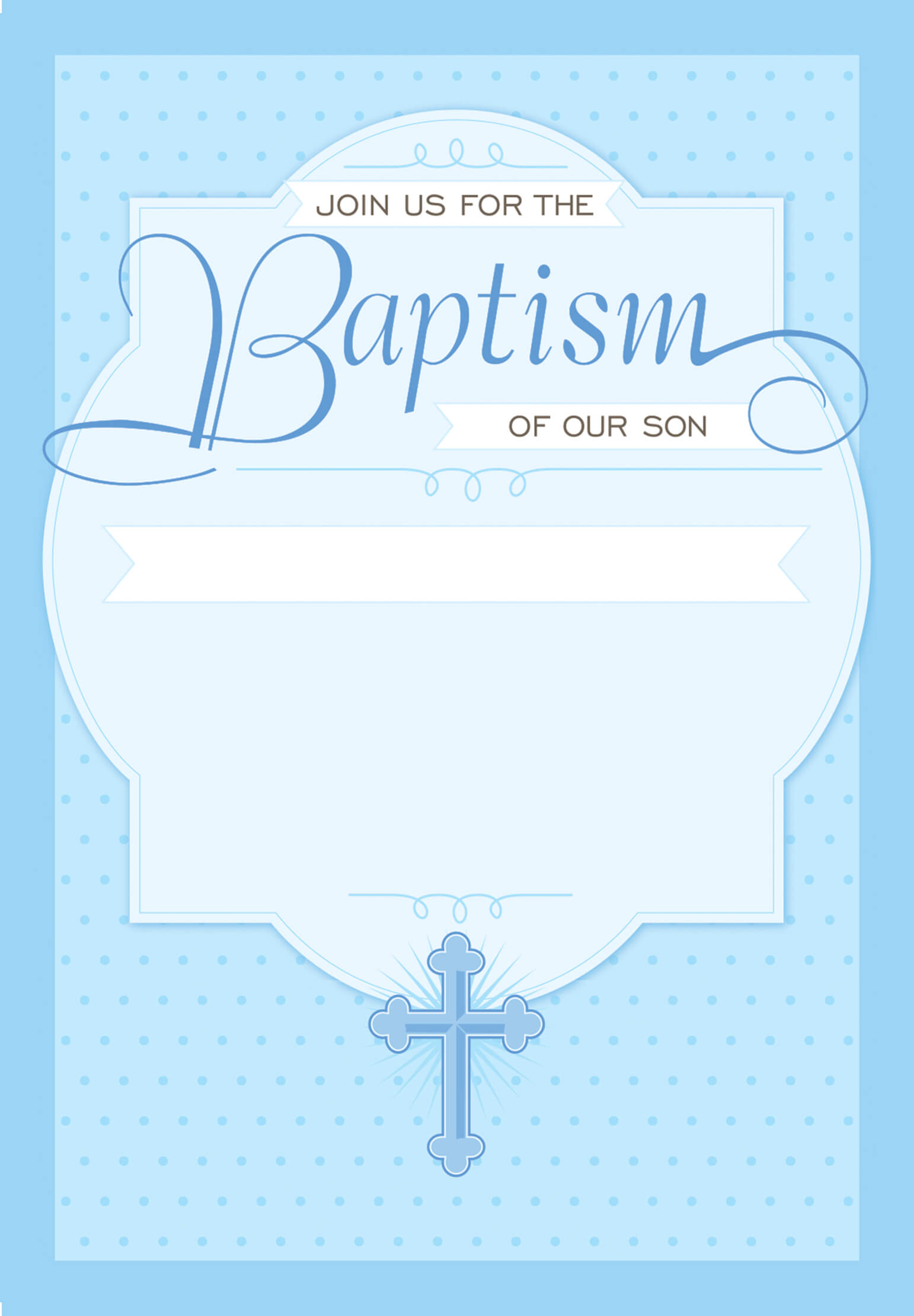 Dotted Blue - Baptism & Christening Invitation Template With Blank Christening Invitation Templates