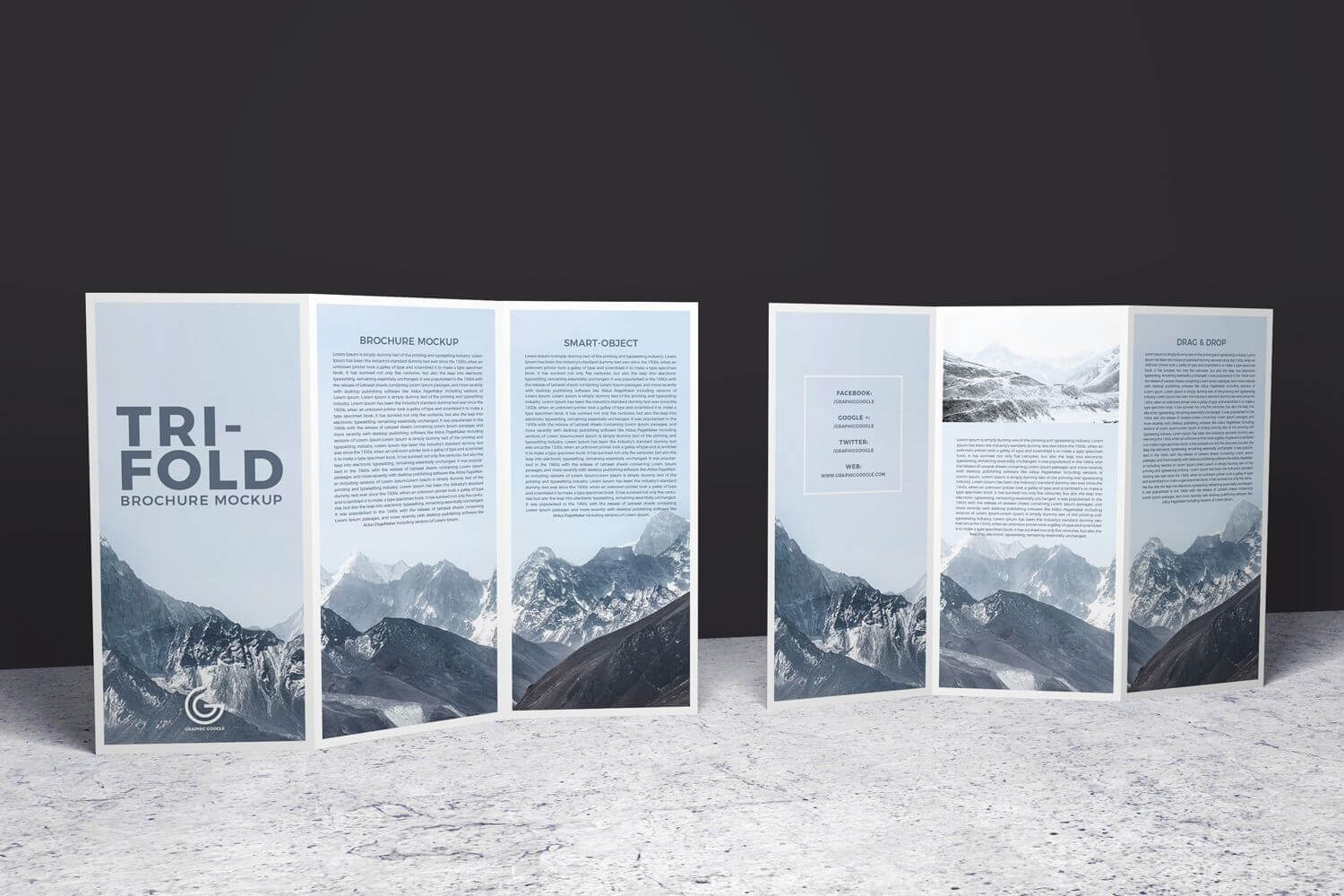 Double Sided Tri Fold Brochure Psd Mockup | Brochure Mockups With Regard To Double Sided Tri Fold Brochure Template