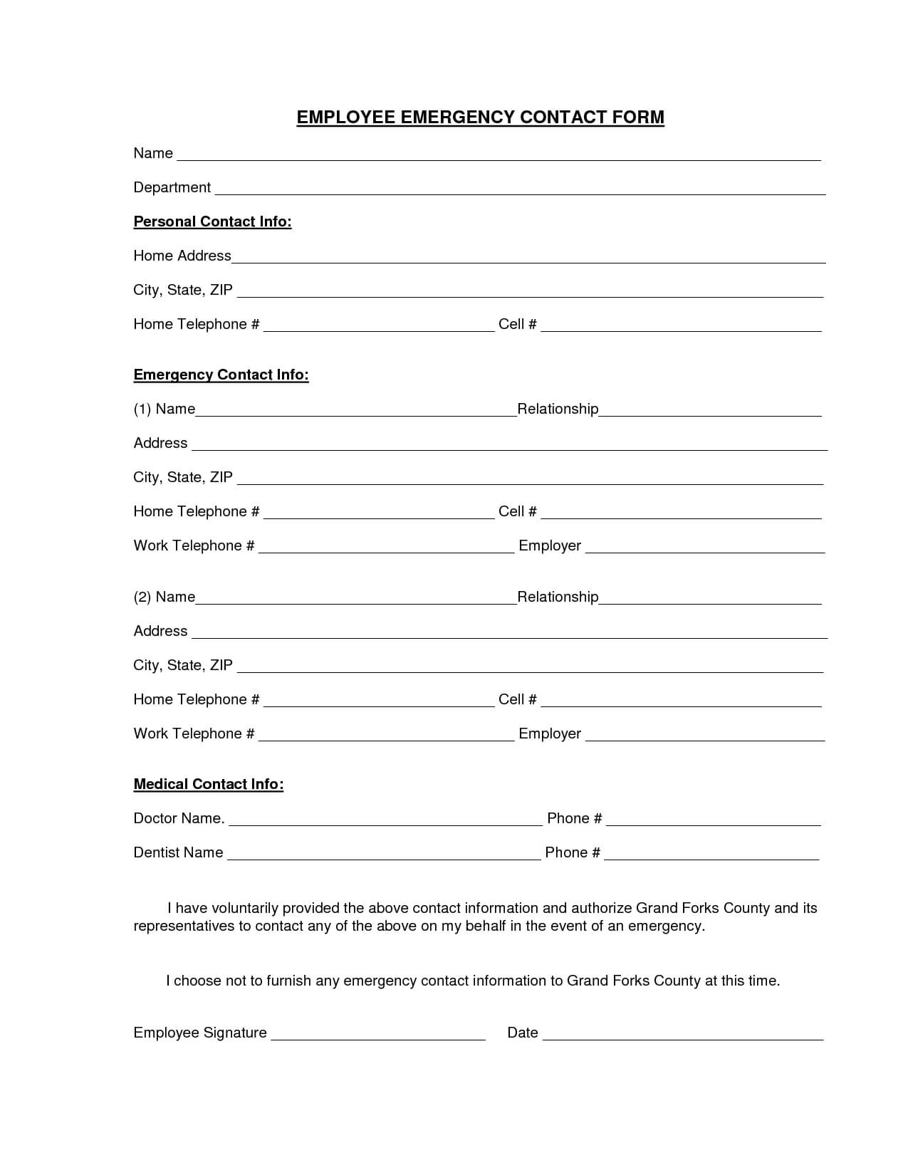 Download A Free Emergency Contact Form And Emergency Card within Emergency Contact Card Template
