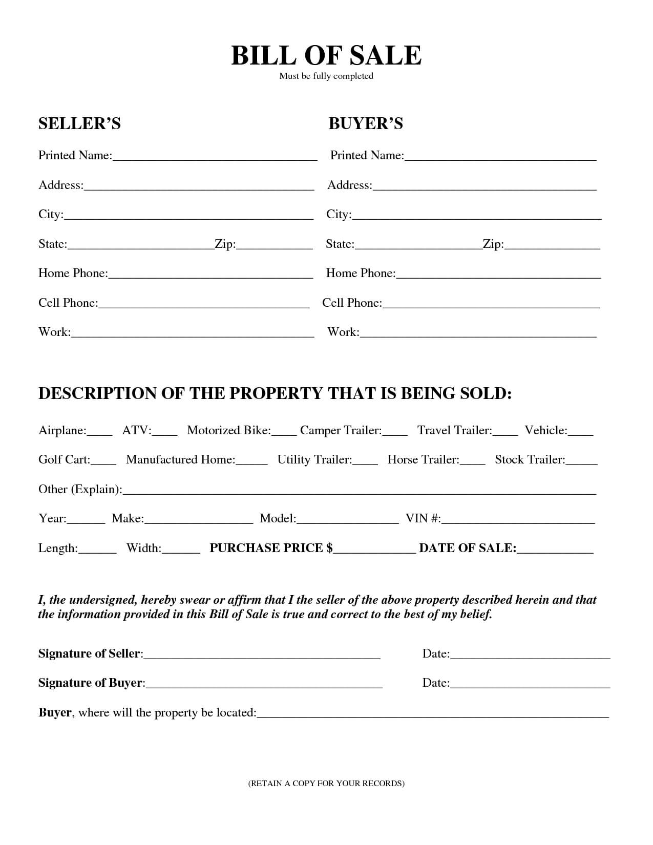 Download Bill Of Sale Forms - Pdf Templates with Vehicle Bill Of Sale Template Word