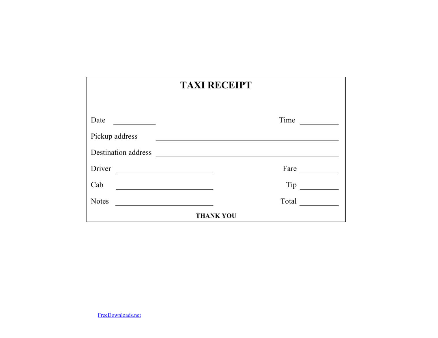 Download Blank Printable Taxi Cab Receipt Template Excel Regarding Blank Taxi Receipt Template