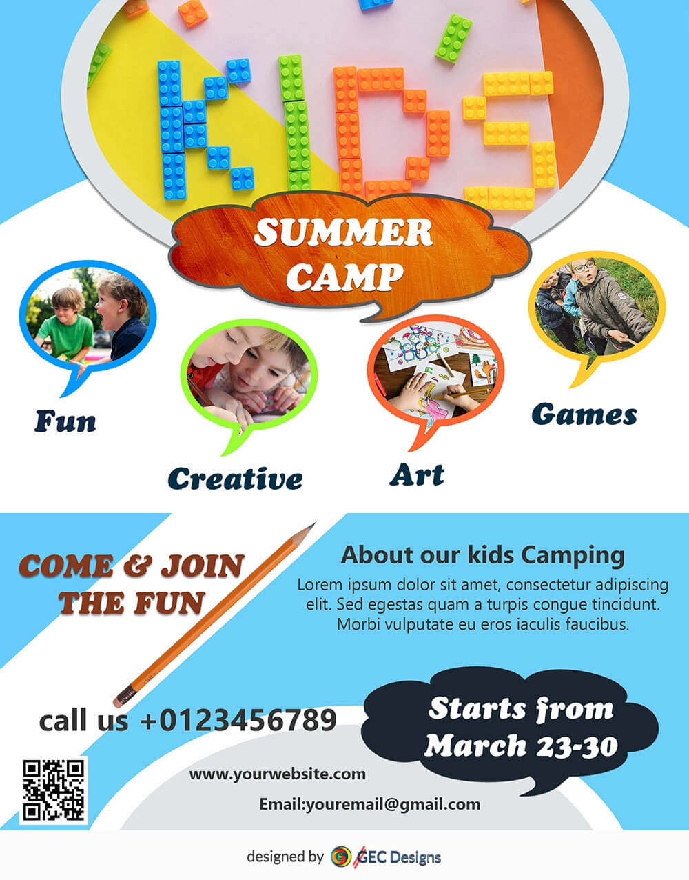 Download Free Kids Summer Camp Flyer Design Templates Intended For Summer Camp Brochure Template Free Download