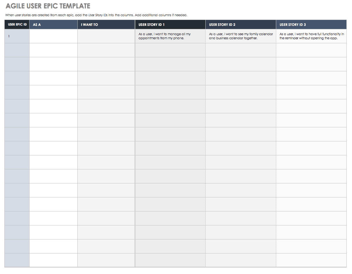 Download Free User Story Templates |Smartsheet With Regard To User Story Template Word