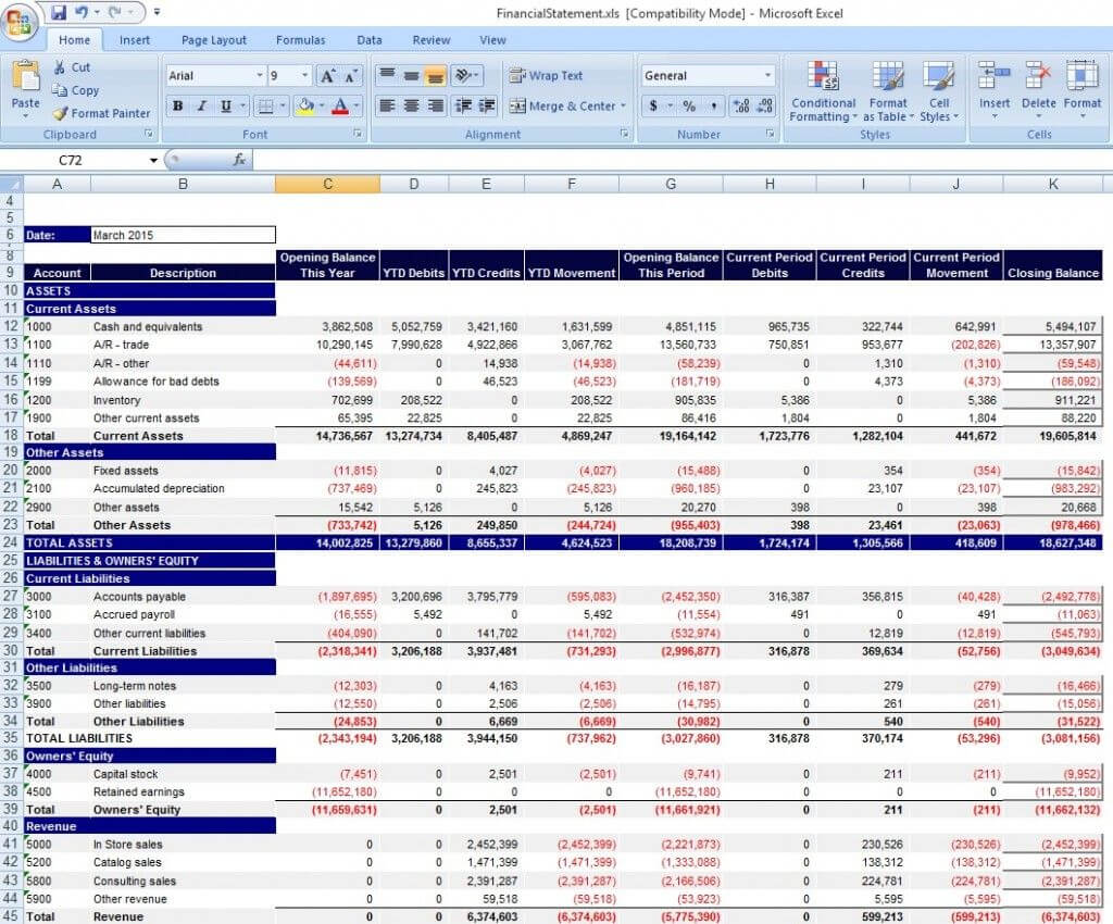 Download Personal Financial Statement Template Excel From Regarding Financial Reporting Templates In Excel