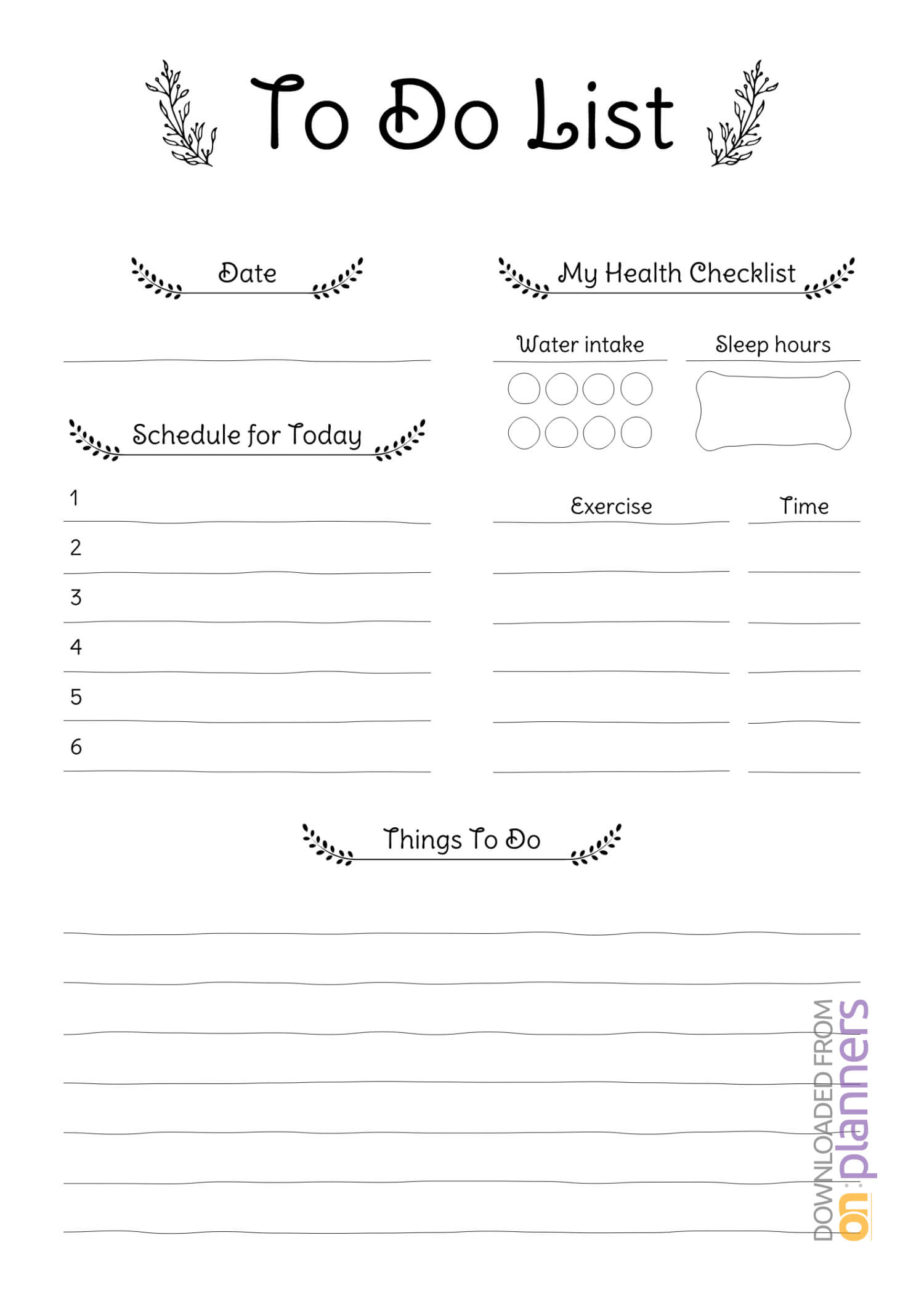 Download Printable Daily To Do List Pdf within Blank To Do List Template