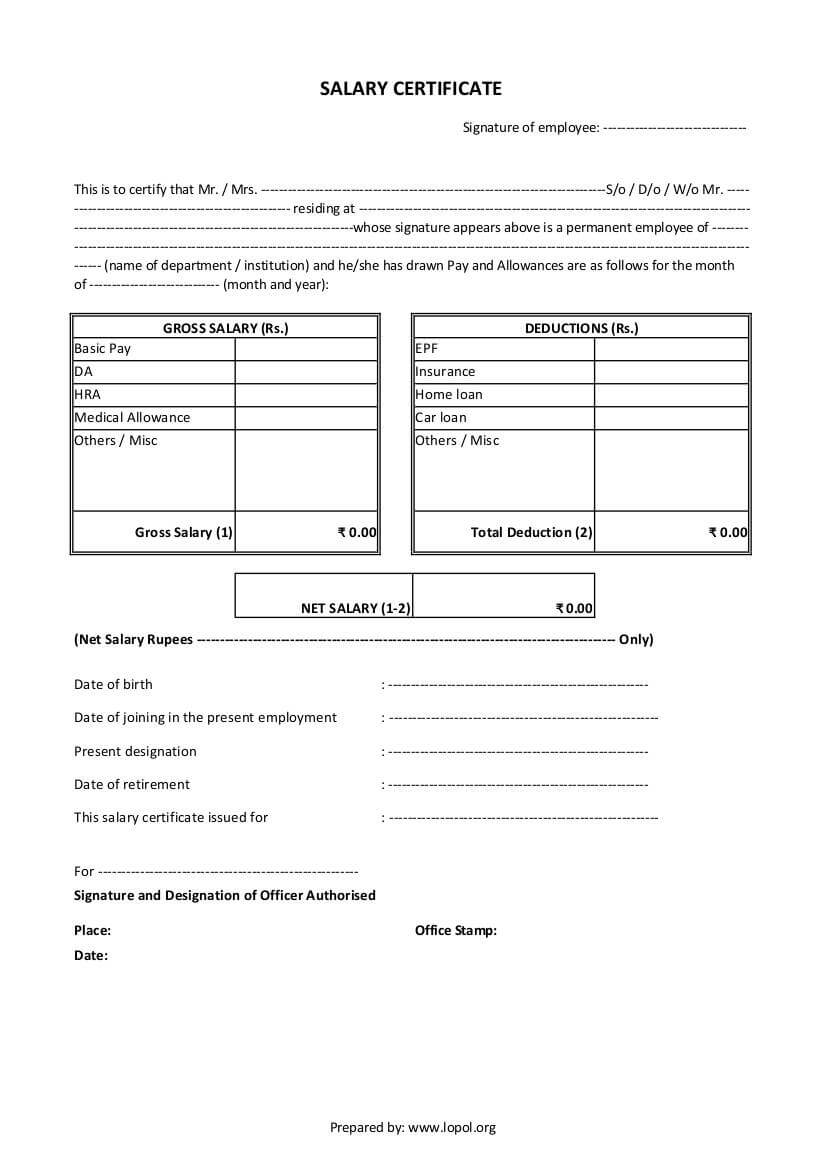 Download Salary Certificate Formats - Word, Excel And Pdf for Certificate Of Payment Template