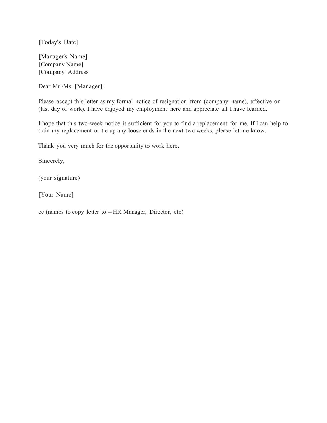 Download Standard Two (2) Weeks Notice Letter Template And Throughout 2 Weeks Notice Template Word