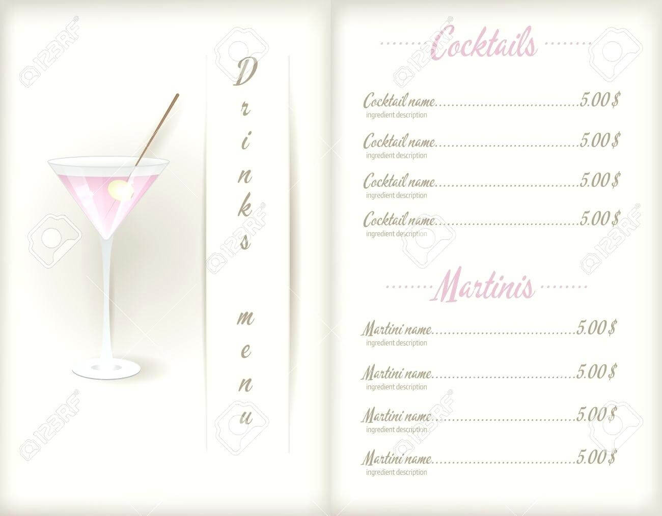 Drink Menu Template – Wepage.co for Cocktail Menu Template Word Free