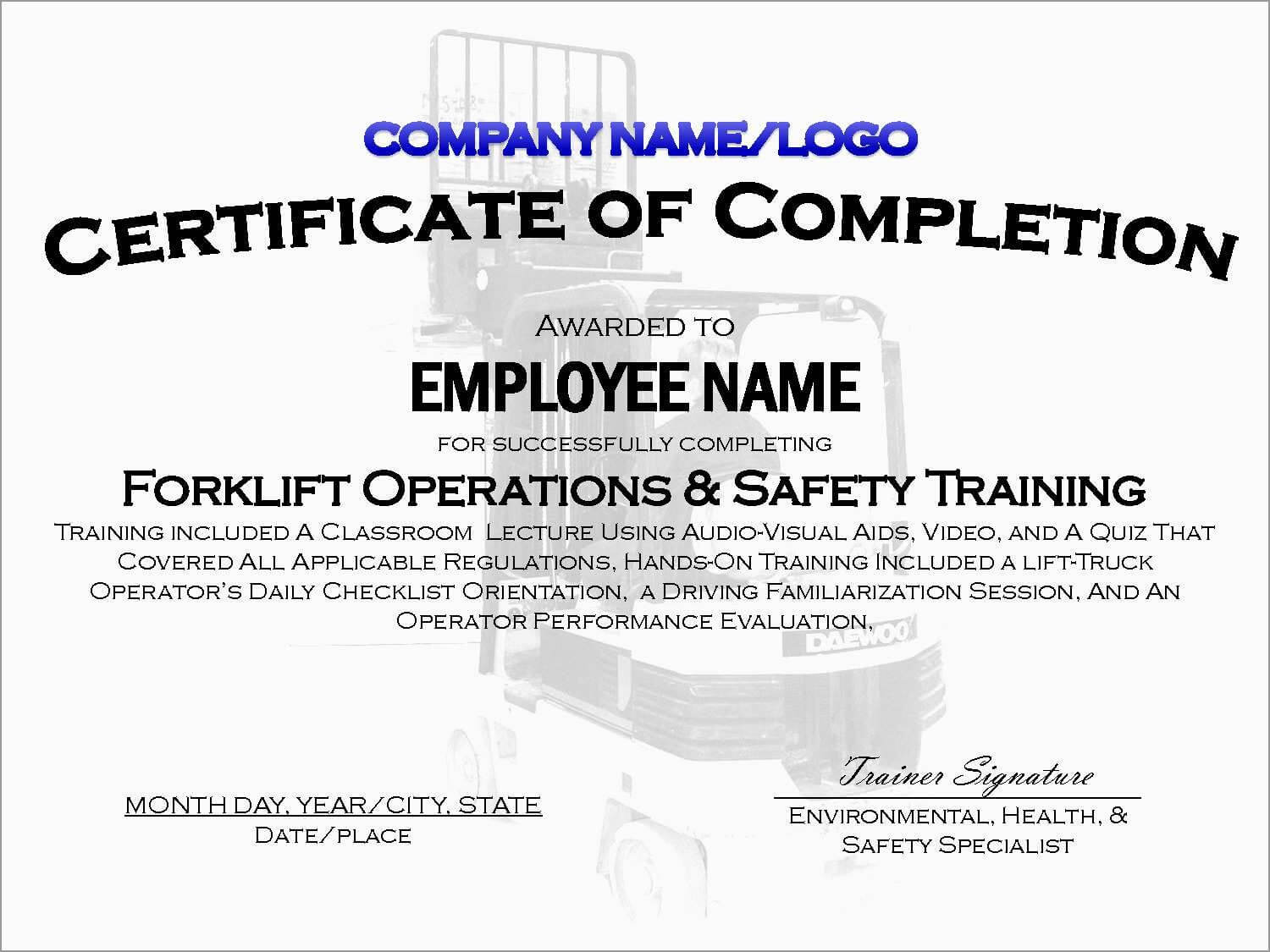 Drivers License Template Word Lovely Forklift Certification Throughout Forklift Certification Template