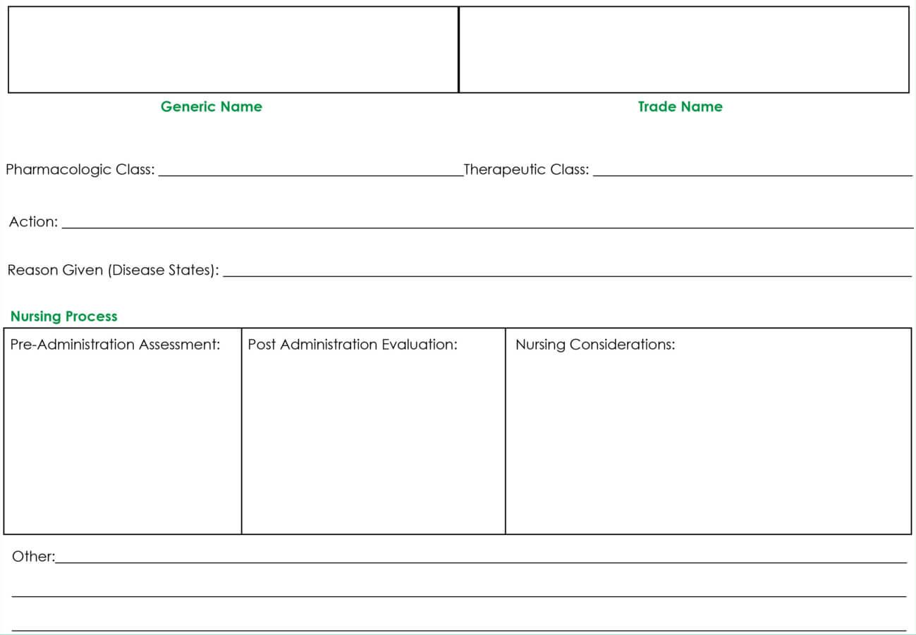 Drug Card Template | Nursing | Pharmacology Nursing, Nursing In Medication Card Template