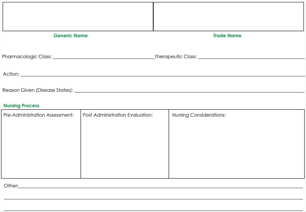 Drug Card Template | Nursing School Notes, Pharmacology Within Med Card Template