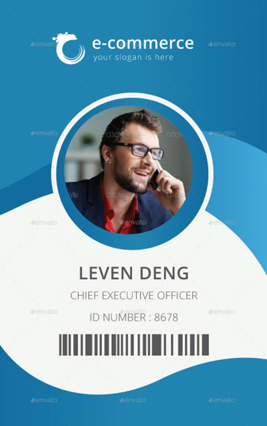 E Commerce Business Office Id Card | Name Card Design, Id For Media Id Card Templates