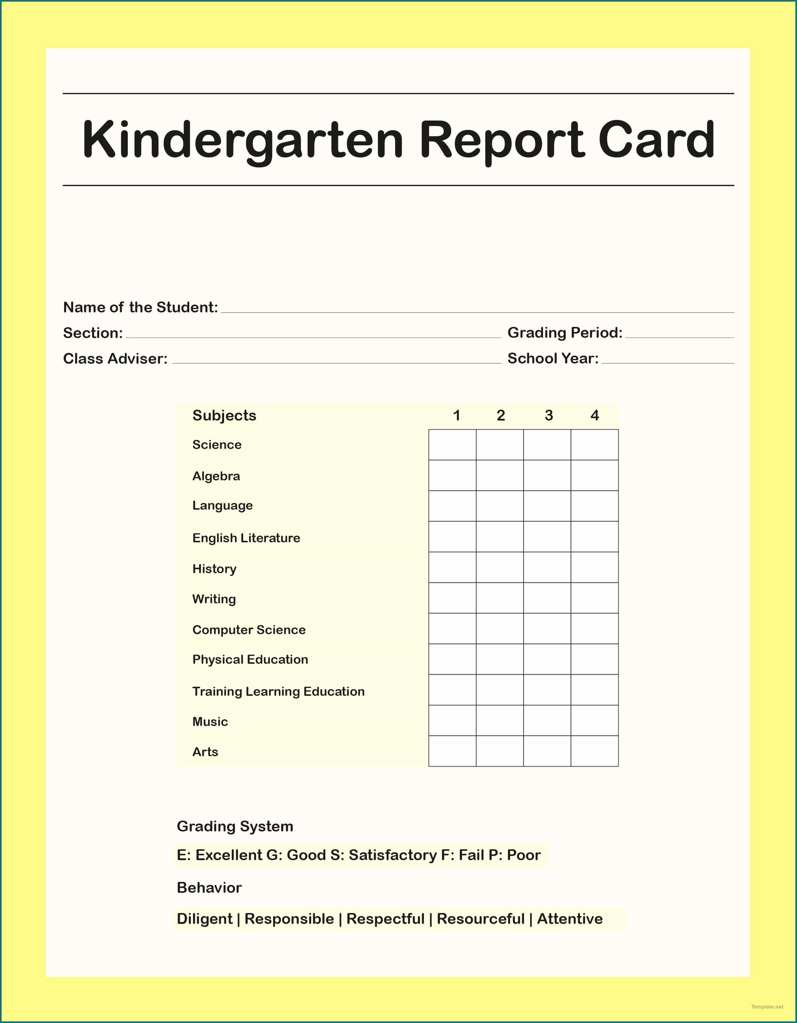 ᐅ Free Customizable Homeschool Report Card Template #604 for Homeschool Report Card Template