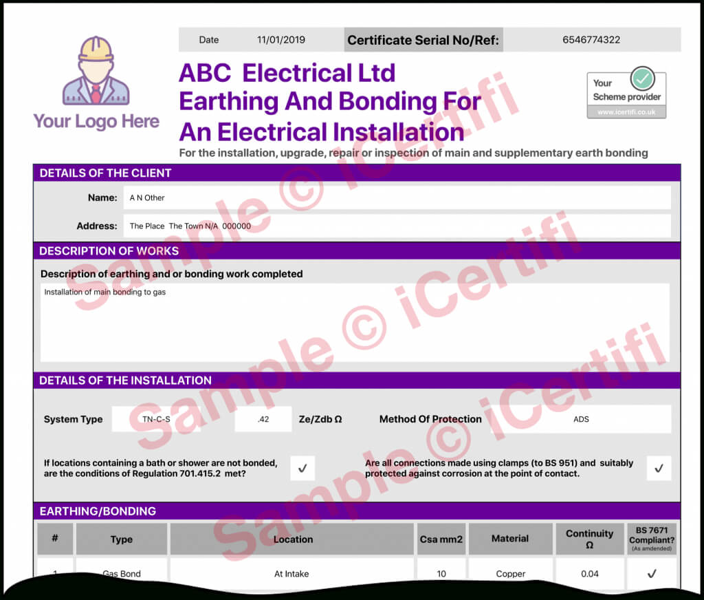 Earthing And Bonding Electrical Certificate From Icertifi intended for Electrical Isolation Certificate Template