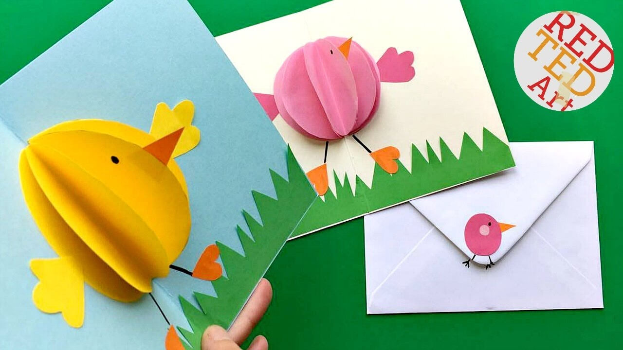 Easy Pop Up Chick Card - 3D Easter Card Diy - Cute & Easy In Intended For Easter Card Template Ks2