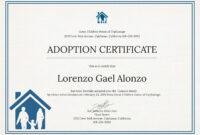 Editable Adoption Certificate New Christening Certificate inside Child Adoption Certificate Template