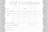 Editable And Printable Silver Swirls Gift Certificate Template with regard to Spa Day Gift Certificate Template