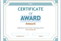 Editable Award Certificate Template In Word #1476 with Sample Award Certificates Templates