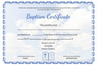 Editable Baptism Certificate Template regarding Baptism Certificate Template Word