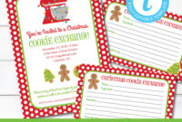 Editable Cookie Exchange Christmas Party Invitation And Recipe Cards,  Instant Download, Holiday Cookie Party Invitation, Edit With Templett with Cookie Exchange Recipe Card Template